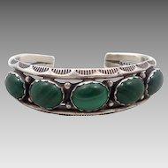 Malachite Bracelet, Sterling Silver, Cuff Bracelet, Vintage Bracelet, Native American, Navajo, Heavy Silver, Large Big, Green Stone, SIgned