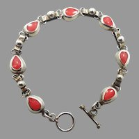 Spiny Oyster, Sterling Bracelet, Vintage Silver, Shell, Peach Orange, Mexico, Links Linked, Multi Stones, Inlay Inlaid, Tear Drop Shape