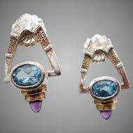 Blue Topaz Earrings, Sterling Silver, Purple Amethyst, Vintage Jewelry, Blue Gemstone, Studio Quality, Modern Contemporary, Two Tone Gold
