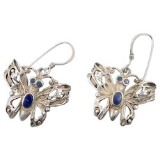 6591074f5 Butterfly Earrings, Blue Lapis, Sterling Earrings, Vintage Earrings,  Pierced Dangle, Ornate