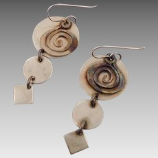 Sterling Earrings, Vintage Earrings, Mixed Metals, Abstract Modern, Circle Swirl, Geometric, Contemporary, Studio Unique Unusual, Statement