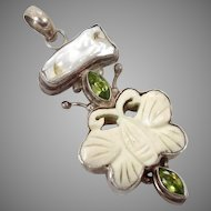 Butterfly Pendant, Pearl Peridot, Sterling Silver, Vintage Pendant, Green Gemstone, Carved Bone, Multi Stone, Boho Bohemian, Mixed Gemstone
