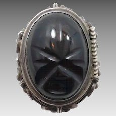 Mask Face Pendant, Sterling Silver, Vintage Locket, Mexico, Pin Brooch, Carved Black Onyx, Aztec, Large Big Statement, Unique Unusual