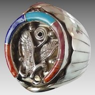 Eagle Ring, Horseshoe, Sterling Silver, Native American, Vintage Ring, Turquoise Lapis, Coral Oyster, Inlaid Inlay, Signed, Mens Mans