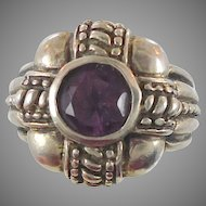 Amethyst Sterling Silver Ring - Vintage Big Setting - Size 6.5 - InVintageHeaven