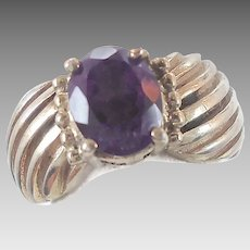 Purple Amethyst Sterling Silver Ring - Vintage Beautiful Stone - Size 6.5 - InVintageHeaven