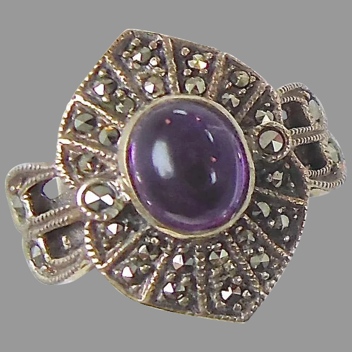 Vintage Princess Cut Amethyst Color Crystal Marcasite Inlay Pendant 925 Sterling Silver PD 248