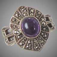 Marcasite & Purple Amethyst Sterling Silver Ring - Vintage Sparkling - Size 6 - InVintageHeaven