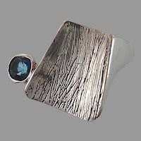 Blue Spinel, Sterling Silver, Vintage Ring, Gemstone, Unique, Artisan Studio, Modern, Minimalist, Heavy Silver, Size 5, Unisex Mens Mans