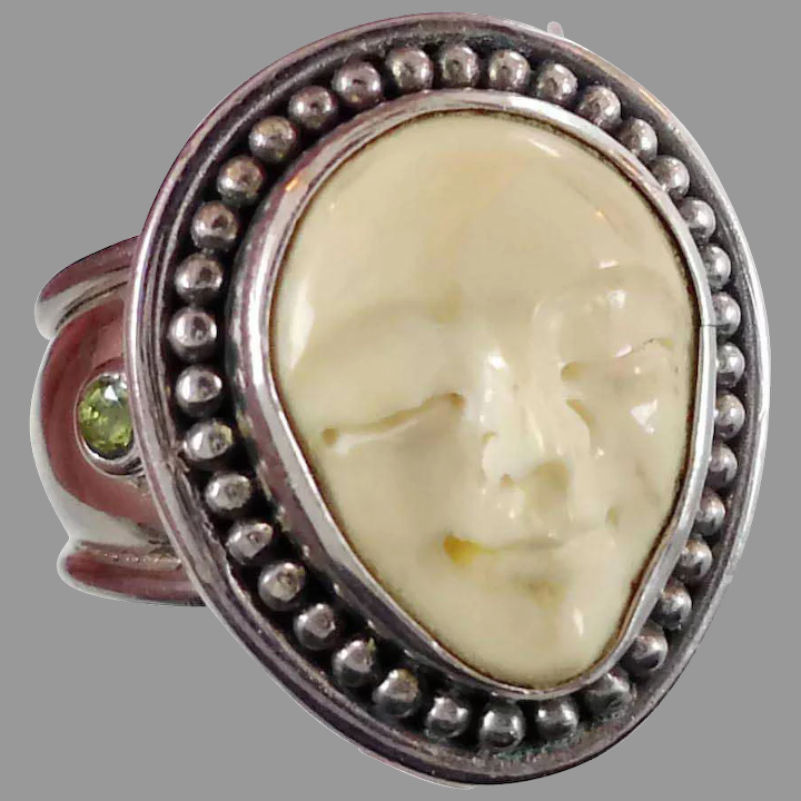 Face Ring Goddess Face Carved Bone Sterling Silver Vintage Ring Invintageheaven Ruby Lane