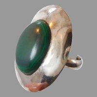 Malachite Ring, Green Stone, Sterling Silver, Vintage Ring, Large, Big Statement, Size 8, Minimalist, Modern, Unisex Mens, Vintage Jewelry