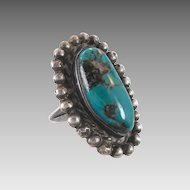 Turquoise Sterling Silver Ring - BIG Stone - Vintage Native American - Size 5.5 - InVintageHeaven