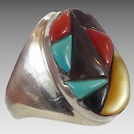 Turquoise Ring, Inlay Inlaid, Turquoise, Coral, Onyx, MOP, Cobblestone Inlay, Sterling Silver, Mens, Native American, Size 12, Mixed