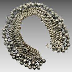 Vintage Anklet, Bells, Afghan Bracelet, Kuchi, Belly Dance, Bollywood, Gypsy, Festival Jewelry, Big Statement, Boho Bohemian, Silver Metal