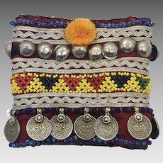 Afghan Armlet, Bracelet, Anklet, Arm Band, Upper Arm, Vintage, Fabric, Embroidered, Metal, Beaded, Kuchi, Gypsy, Wide, Ornate, Costume