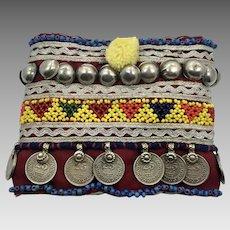 Afghan Armlet, Bracelet, Anklet, Arm Band, Upper Arm, Vintage, Fabric, Embroidered, Metal, Beaded, Kuchi, Gypsy, Wide, Ornate, Costume, #3