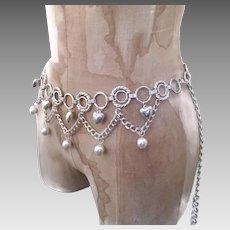 Hip Belt, Necklace, Silver, Hearts, Convertible, Vintage Belt, Vintage Necklace, 1980s, 80s, Chain Belt, Belly Dance, Boho, Bollywood