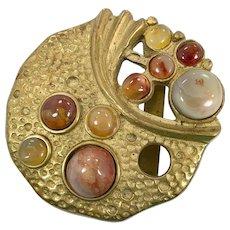 Brass Belt Buckle, Stones, Agate, Brutalist, Modern, Vintage Buckle, Signed, Huge, 1970s, 1980s, 70s, 80s, Massive