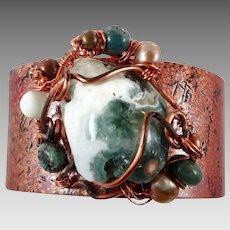 Ocean Jasper Bracelet, Copper Cuff Bracelet, Boho Jewelry, Forged Copper, Green Cream, Wire Wrapped, Stones Pearls. Bohemian, Big Statement