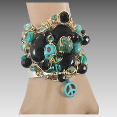 Turquoise Cuff, Black Onyx Bracelet, Skull Peace Sign, Wire Wrapped, OOAK, Day of Dead, Gothic, Boho Statement, Bohemian, Big Wide, Unique