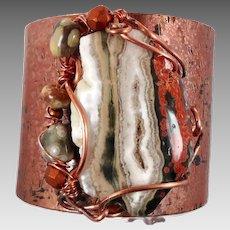 Ocean Jasper Cuff, Forged Bracelet, Copper Cuff, Green Brown, Boho Bohemian, Wire Wrapped, Beaded, OOAK, Rustic, Organic, Big Statement