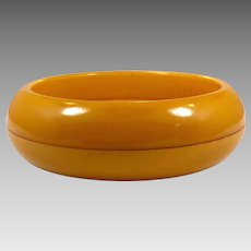 Butterscotch Bangle, Bakelite Bracelet, Vintage Bracelet, Wide, Domed, Curved