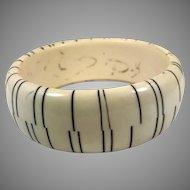 Lucite Bracelet, Black Striped, Cream, Vintage Bracelet, 1970s, 1960s, Stacking, Plastic Bracelet