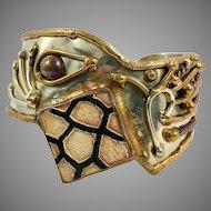 Brutalist Bracelet, Vintage Cuff, Mixed Metals, Silver, Pottery, Brass Bracelet, Modern, Contemporary