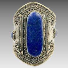 Lapis Bracelet, Middle Eastern, Vintage Bracelet, Afghan ,Silver, Mixed Metal, Wide Cuff, Turkmen, Kuchi, Gypsy, Big Statement, Large, #2