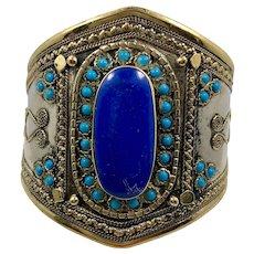 Afghan Bracelet, Kuchi Jewelry, Vintage Bracelet, Middle Eastern, Blue, Turquoise, Silver Cuff, Afghan, Ethnic Tribal