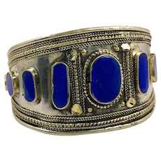 Lapis Bracelet, Kuchi Jewelry, Silver Cuff, Vintage Bracelet, Brass, Middle Eastern, Big, Afghan, Ethnic Tribal, Large, Mixed Metal