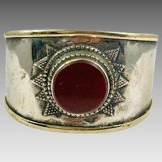 Carnelian Cuff, Afghan Bracelet, Vintage Bracelet, Middle Eastern, Silver Cuff, Brass, Boho, Turkmen, Big Statement, Kuchi, Ethnic, Wide, #1