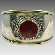 Carnelian Cuff, Afghan Bracelet, Vintage Bracelet, Middle Eastern, Silver Cuff, Brass, Boho, Turkmen, Big Statement, Kuchi, Ethnic, Wide, #2
