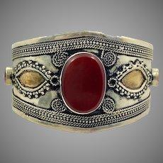 Carnelian Cuff, Kuchi Bracelet, Silver Cuff, Boho, Vintage Bracelet, Middle Eastern, Brass, Turkmen, Afghan, Ethnic, Large