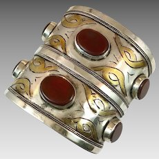 Carnelian Cuff, Boho Cuff, Afghan Kuchi, Vintage Bracelet, Gold Wash, Silver, Wide Bracelet, Turkmen, Gypsy Ethnic