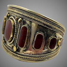 Carnelian Cuff, Mixed Metal, Afghan, Silver Cuff, Vintage Bracelet, Middle Eastern, Kuchi, Turkmen, Ethnic