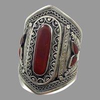 Carnelian Cuff, Kuchi Bracelet, Silver Cuff, Boho Bracelet, Vintage Bracelet, Red Stone, Turkmen, Big Statement, Afghan, Ethnic, Large