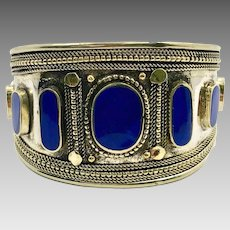 Lapis Bracelet, Kuchi Jewelry, Silver Cuff, Vintage Turkmen, Unisex, Mens, Big Statement, Afghan, Ethnic Tribal, Large Boho, Mixed Metal