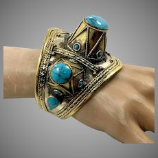 Turquoise Bracelet, Kuchi Jewelry, Vintage Cuff, Spiked, Afghan, Mixed Metal, Statement, Ethnic, Large
