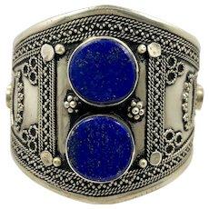 Lapis Bracelet, Kuchi Jewelry, Silver Cuff, Vintage Bracelet, Middle Eastern, Wide, Blue, Big Statement, Afghan