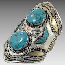 Kuchi Bracelet, Silver Wide Cuff, Vintage Bracelet, Stone, Composite Turquoise, Unisex, Mens, Massive, Afghan Jewelry, Big Statement, Large
