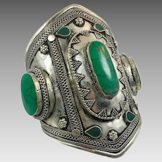 Afghan Bracelet, Silver Wide Cuff, Vintage Bracelet, Kuchi Jewelry, Stone, Composite Jasper, Massive, Big Statement, Ethnic, Large, Boho