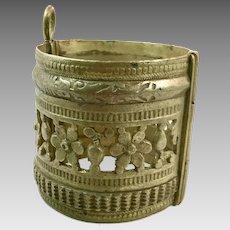Afghan Bracelet, Vintage Bracelet, Wide, Small Wrist ,Middle Eastern, Kuchi Bracelet, Silver Ethnic, Tribal Gypsy, Mixed Metal, Statement