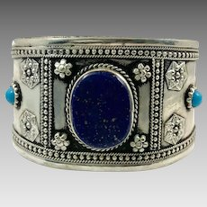 Lapis Bracelet, Kuchi Jewelry, Silver Cuff, Vintage Turkmen, Mixed Metal, Blue Stone, Big Statement, Afghan, Ethnic Tribal, Large, Boho