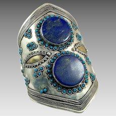 Lapis Cuff, Afghan, Kuchi, Vintage Bracelet, Middle Eastern, Lapis Bracelet, Silver Blue, Mixed Metal, Wide Bracelet, Big Statement, Turkmen