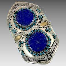 Lapis Cuff, Afghan, Kuchi, Vintage Bracelet, Middle Eastern, Lapis Bracelet, Mixed Metal, Silver Blue, Wide Bracelet, Big Statement, Turkmen