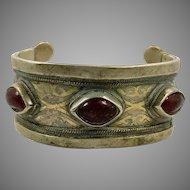 Afghan Cuff, Vintage Bracelet, Red Jewels, Middle Eastern, Silver, Gold Wash, Kuchi, Cuff Bracelet, Turkmen, Gypsy Nomadic, Ethnic, Bohemian