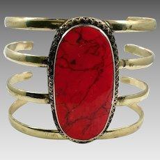 Red Jasper Bracelet, Afghan Cuff, Vintage Bracelet, Middle Eastern, Jasper Composite, Brass, Kuchi , Big Gypsy, Ethnic, Wide Statement