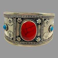 Afghan Bracelet, Middle Eastern, Silver Cuff, Vintage Bracelet, Red Jasper, Turquoise, Mixed Metal