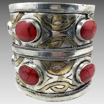 Red Jasper Cuff, Afghan Bracelet, Middle Eastern, Silver, Gold Wash, Turkomen, Vintage Bracelet